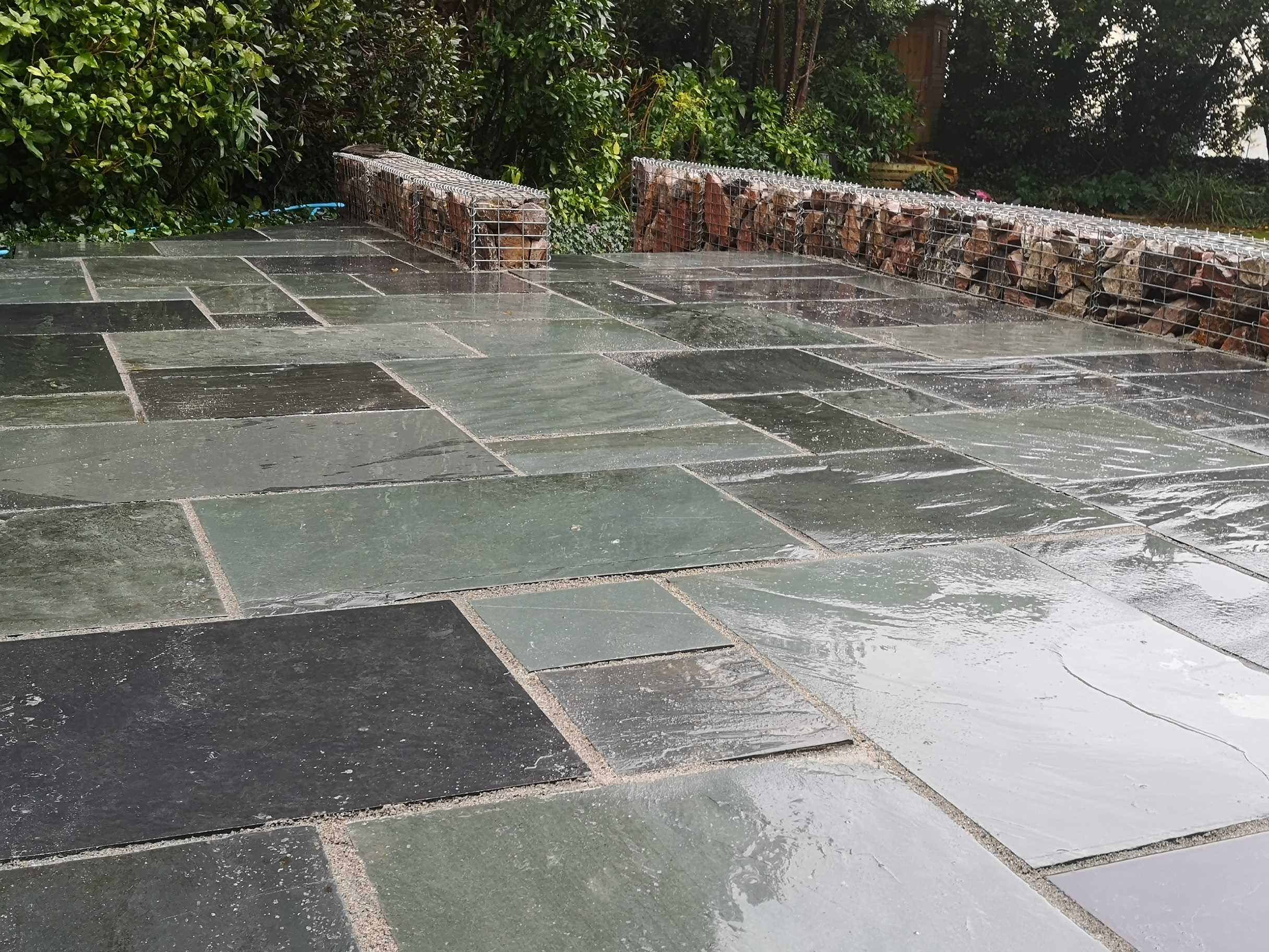 Black slate patio