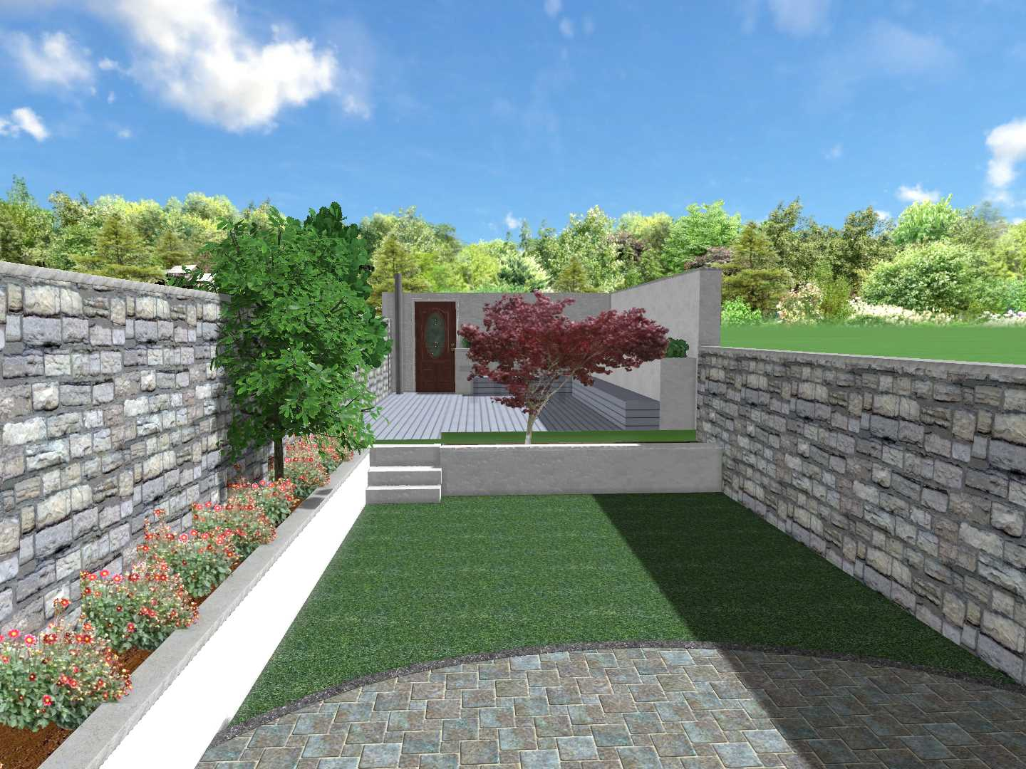 Composite decking, black slate, rendered walls